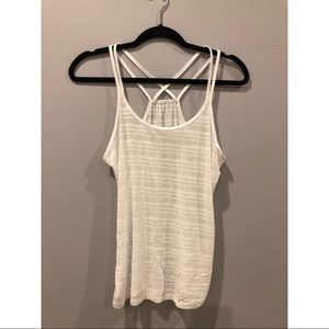 Sheer White Criss Cross Back Tank Top